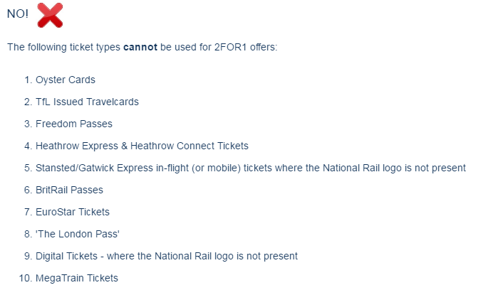 Tickets válidos para el uso de descuentos 2x1 en Londres