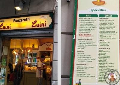 Entrada a Luini Panzerotti y carta de especialidades en ingles