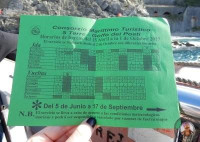 Horarios del recorrido en barco por Cinque Terre