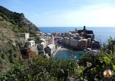 Vistas de Vernazza desde el inicio del camino