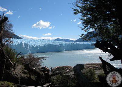 Vistas del glaciar Perito Moreno desde el bosque de camino al refugio