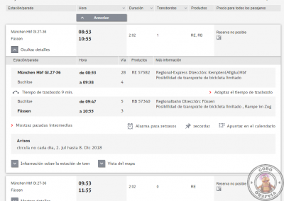 Horarios de ejemplo del trayecto entre Munich y Füssen
