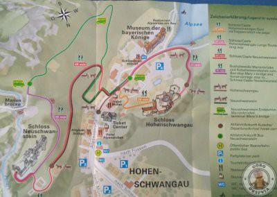 Plano de los recorridos hacia el castillo