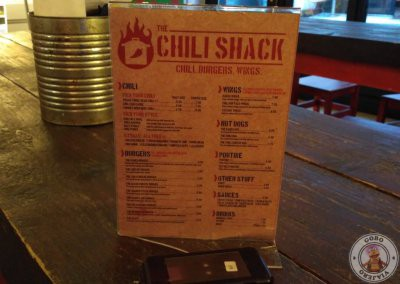 Menú en The Chili Shack