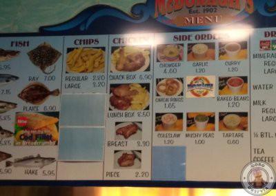 Carta de fish and chips McDonagh's