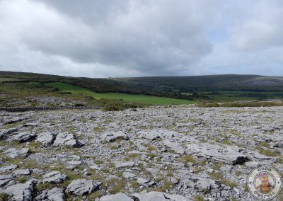 Diferencia entre el verde de las colinas y la roca de The Burren