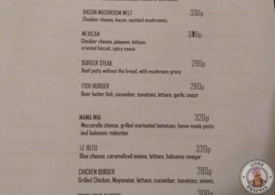 Carta de hamburguesas del Reef Café