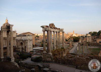 Atardecer desde el mirador con vistas al Foro Romano