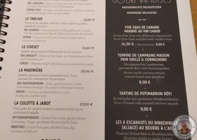 Carta del restaurante La Corde a Linge