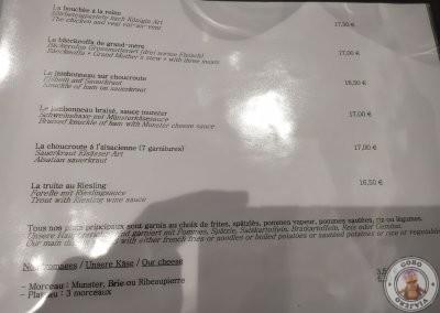 Carta Restaurante Au Cheval Noir en Ribeauvillé