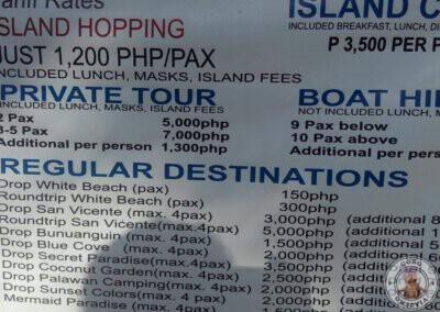 Precios de tours en Port Barton